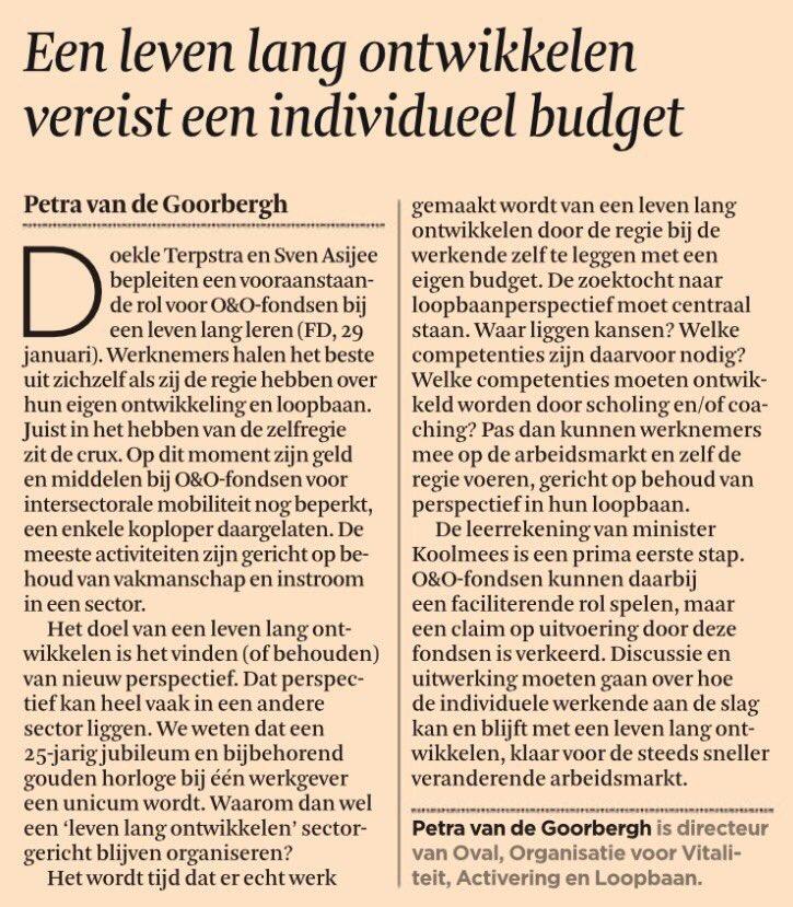 Petra van de Goorbergh in FD over opleiden en ontwikkelen